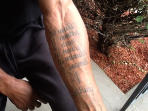 Mark Schand's tattoo of exact amount of time spent in prison.