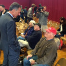 Vt. Gov. Peter Shumlin met with passengers from the derailed Amtrak train on Oct. 5, 2015.