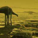 An artist's rendering of sauropods that once roamed in a lagoon area on Scotland's Isle of Skye.