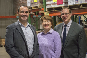 Charles Miller of the ShopRite of Enfield, Kathy Tobin of the Food Bank and Martin Miller of NEPR at the Food Bank of Western Massachusetts